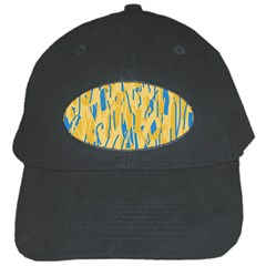 Yellow and blue pattern Black Cap
