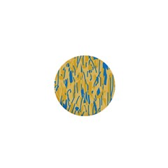 Yellow and blue pattern 1  Mini Buttons