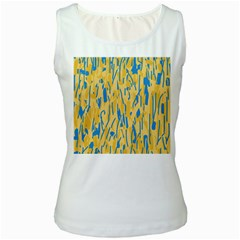 Yellow and blue pattern Women s White Tank Top
