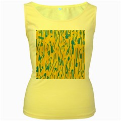 Yellow and blue pattern Women s Yellow Tank Top