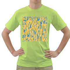 Yellow and blue pattern Green T-Shirt