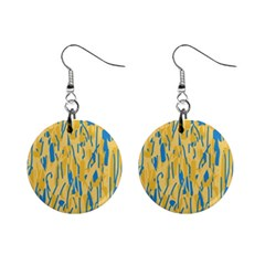 Yellow and blue pattern Mini Button Earrings