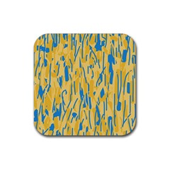Yellow and blue pattern Rubber Coaster (Square)