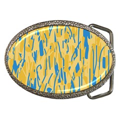 Yellow and blue pattern Belt Buckles
