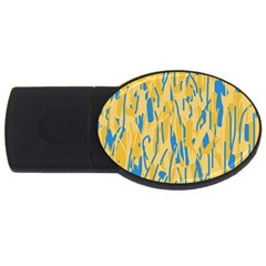 Yellow and blue pattern USB Flash Drive Oval (1 GB)