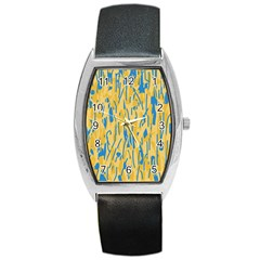 Yellow and blue pattern Barrel Style Metal Watch