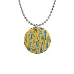 Yellow and blue pattern Button Necklaces