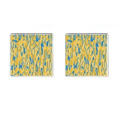 Yellow and blue pattern Cufflinks (Square)