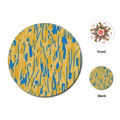Yellow and blue pattern Playing Cards (Round)