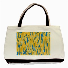 Yellow and blue pattern Basic Tote Bag (Two Sides)