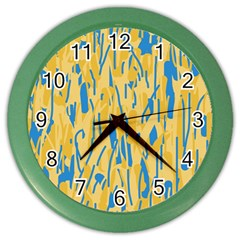 Yellow and blue pattern Color Wall Clocks