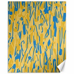Yellow and blue pattern Canvas 11  x 14