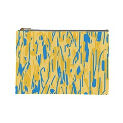 Yellow and blue pattern Cosmetic Bag (Large)