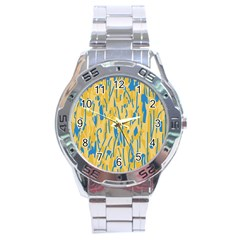 Yellow and blue pattern Stainless Steel Analogue Watch