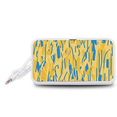 Yellow and blue pattern Portable Speaker (White)