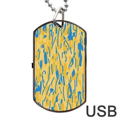 Yellow and blue pattern Dog Tag USB Flash (Two Sides)
