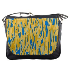 Yellow and blue pattern Messenger Bags