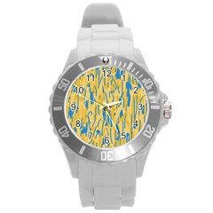 Yellow and blue pattern Round Plastic Sport Watch (L)