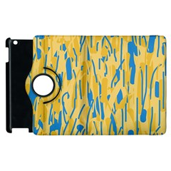 Yellow and blue pattern Apple iPad 2 Flip 360 Case