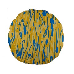 Yellow and blue pattern Standard 15  Premium Round Cushions
