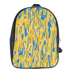 Yellow and blue pattern School Bags (XL)