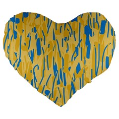 Yellow and blue pattern Large 19  Premium Heart Shape Cushions