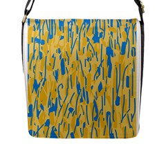 Yellow and blue pattern Flap Messenger Bag (L)
