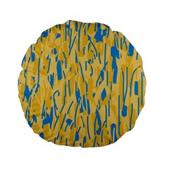 Yellow and blue pattern Standard 15  Premium Flano Round Cushions