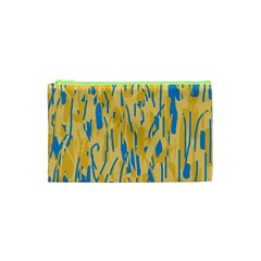 Yellow and blue pattern Cosmetic Bag (XS)