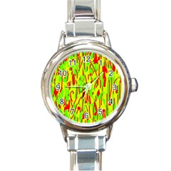 Green and red pattern Round Italian Charm Watch