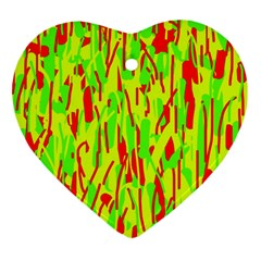 Green and red pattern Ornament (Heart)