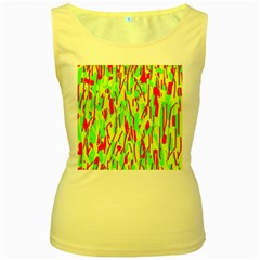 Green and red pattern Women s Yellow Tank Top