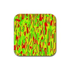 Green and red pattern Rubber Square Coaster (4 pack)