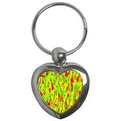Green and red pattern Key Chains (Heart)