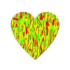 Green and red pattern Heart Magnet
