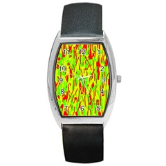 Green and red pattern Barrel Style Metal Watch