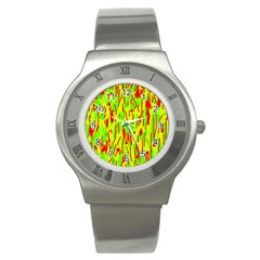 Green and red pattern Stainless Steel Watch