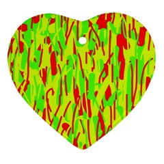 Green and red pattern Heart Ornament (2 Sides)