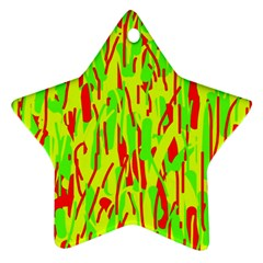 Green and red pattern Star Ornament (Two Sides)