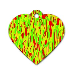 Green and red pattern Dog Tag Heart (Two Sides)
