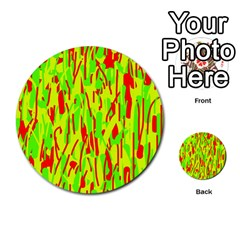 Green and red pattern Multi-purpose Cards (Round)