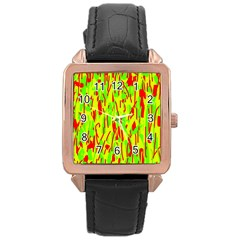 Green and red pattern Rose Gold Leather Watch