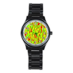 Green and red pattern Stainless Steel Round Watch