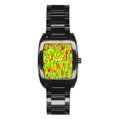 Green and red pattern Stainless Steel Barrel Watch