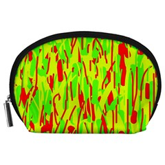 Green and red pattern Accessory Pouches (Large)
