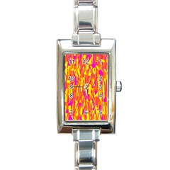 Pink and yellow pattern Rectangle Italian Charm Watch