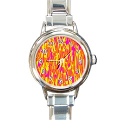 Pink and yellow pattern Round Italian Charm Watch