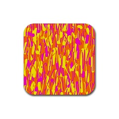 Pink and yellow pattern Rubber Coaster (Square)