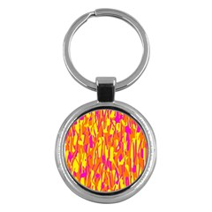 Pink and yellow pattern Key Chains (Round)