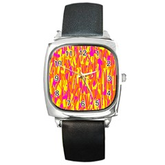 Pink and yellow pattern Square Metal Watch